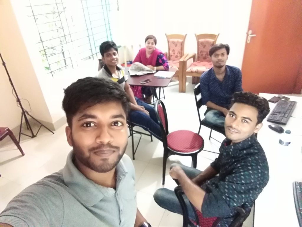 A selfie taken in Shotez.Life office while working